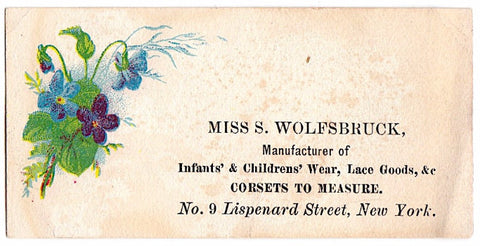 1870's Susan Wolfsbruck Victorian Corsets Advertising Trade Card, NYC