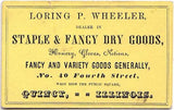 1860's Loring P. Wheeler Store Advertising Trade Card Quincy, Illinois