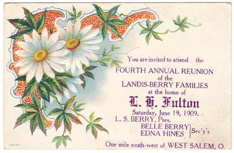 1909 Landis & Berry Family Reunion Postcard, West Salem Ohio Genealogy