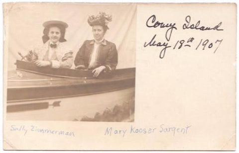 1907 Mary Forward Kooser Sargent at Coney Island, RPPC Photo Postcard