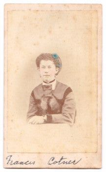 1860's Frances White Cotner hand tinted CDV Photo, Medina County, Ohio