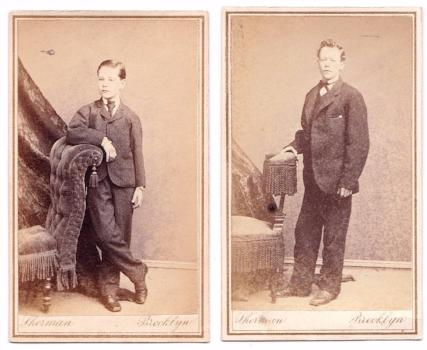 1870's Warrington Fields: Benjamin & Charles 2 CDV photos, Brooklyn NY