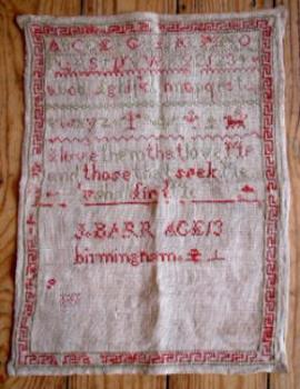 1830's J. Barr Family Antique Hand Sewn Sampler, Birmingham England UK