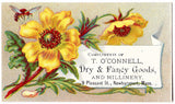 1880 Timothy O'Connell Millinery Dry Goods Trade Card, Newburyport MA