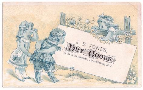 1873 J.E. or Jonathan E. Jones Dry Goods Card, Providence Rhode Island