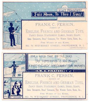 1879 Frank Clark Ferrin Toy Store Advertising Trade Card Providence RI