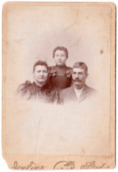1880's Henrietta, Mary Lela & James Blasingame Cabinet Photo, Illinois