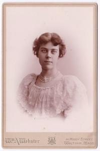 1894 Gertrude Hudson Cabinet Card Photo, Waltham, Middlesex County MA