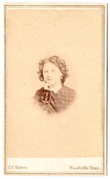 1860's Mary Ramage Claiborne CDV Photo, Nashville, Davidson County TN