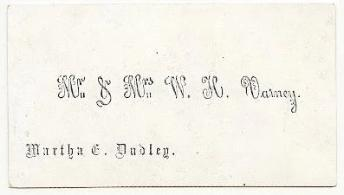 1858 William H Varney & Martha Dudley Victorian Calling Card, Maine