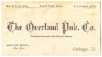 1880 Overland Pub Co. Business Card: Crofutt, Tuerk, Dearborn: Chicago