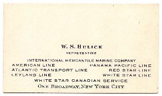 1920's Warren South Hulick Steamship Business Card (W.S. Hulick) NYC