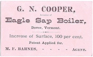 1870's George Newell Cooper Trade Card: Millard Fillmore Barnes VT