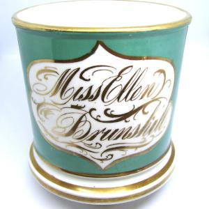 1840's Ellen Brunshill ID'd Coalport English Christening Mug