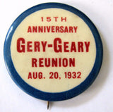 1932 Gery Geary Family 15th Reunion Pinback Button Berks County PA
