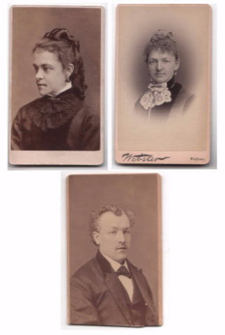 1870's George, Elizabeth & Harriet Derbyshire CDV Photos, Boston MA
