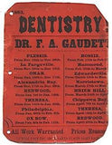 1883 Frederic Gaudett Early Dentistry Sign of Jefferson County NY