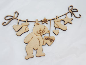 Christmas Teddy Ribbon - Personalised