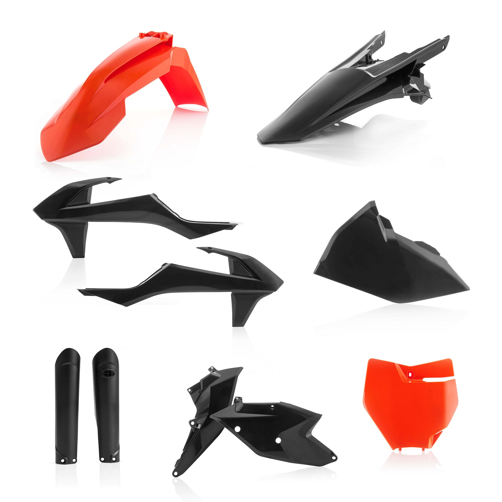 KTM FULL PLASTIC KIT - Orange/Black - SX125/150, SX-F250/350/450, XC-F250/350/450: 16-18, SX250/XC: 17-18 - Acerbis