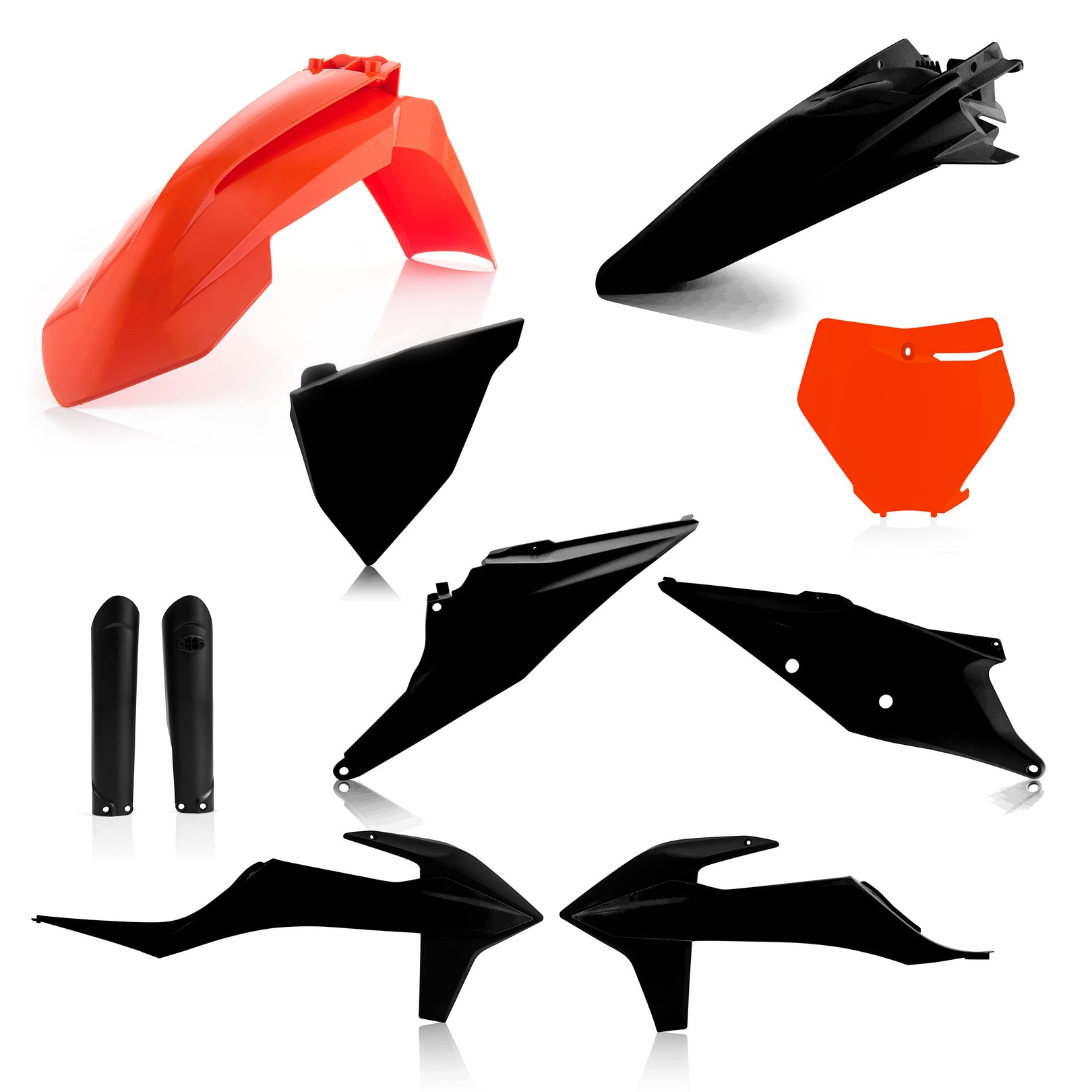 KTM FULL PLASTIC KIT -ORANGE/BLACK - SX125-250, SX-F250-450, XC-F250-450: 19-20, XC250/300: 19, XC250tpi/300tpi: 20 - Acerbis