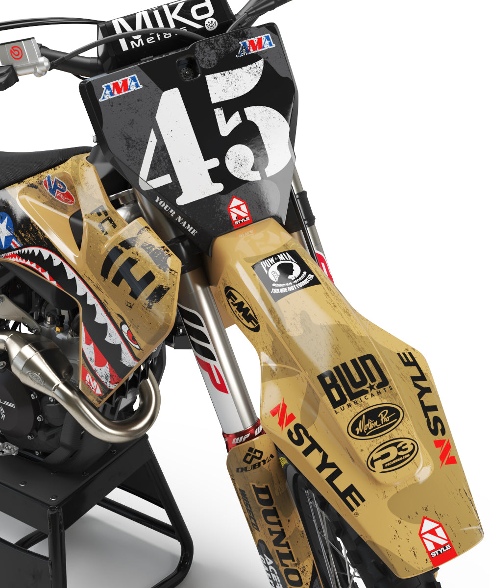 Ready-Made | Team AJE Motorsports Military Appreciation TAN Graphic Kit Husqvarna