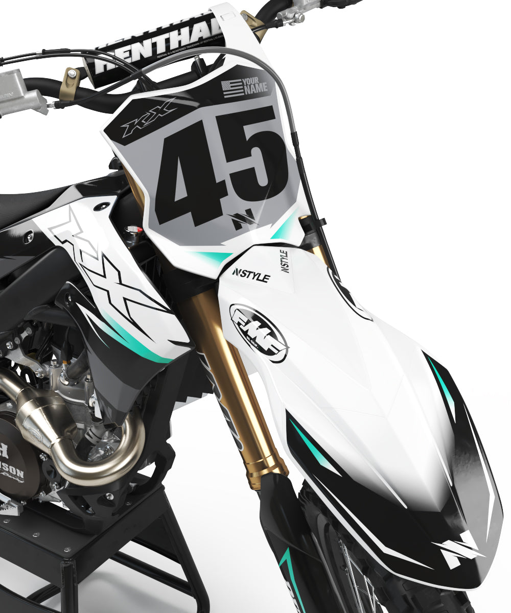 ATTACK White|Grey Graphic Kit Kawasaki