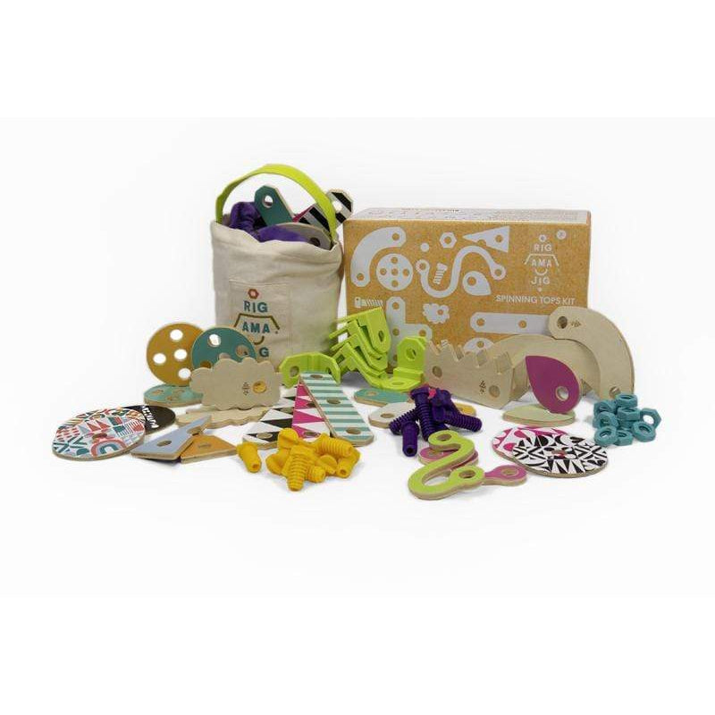 Rigamajig Jr Spinning Tops Kit - 70 Pieces