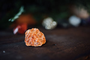 Orange Calcite, one of nine raw precious stones for chakra healing and crystal healing designed to support the Sacral Chakra