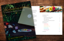Load image into Gallery viewer, The Healers Guidebook, a 40-page companion to The Chakra Box for chakra healing and crystal healing featuring essential oils, precious stones, and an herbal bundle