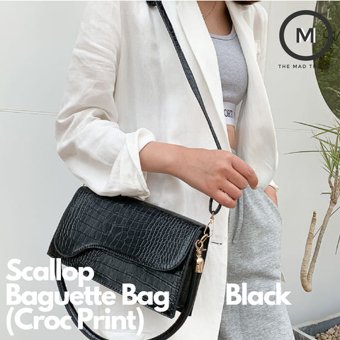 Scallop Baguette Bag (Croc Print, 2 Colours)