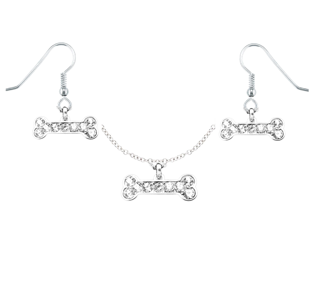 Crystal Bone Necklace & Earring Set