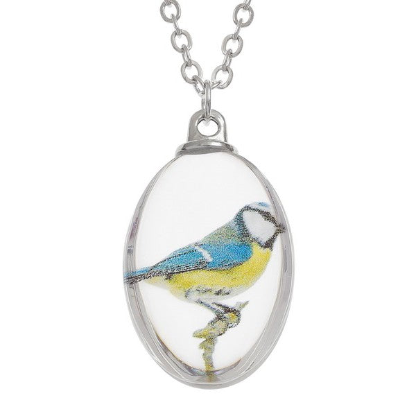 Glass Blue Tit Necklace