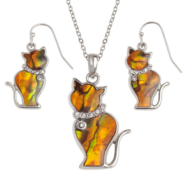 Orange Pāua Shell Cat Necklace and Earrings Set
