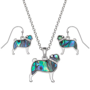 Pāua Shell Pug Dog Necklace and Earrings Set
