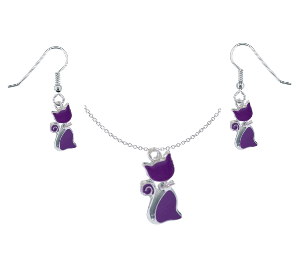 Purple Cat Necklace & Earring Set