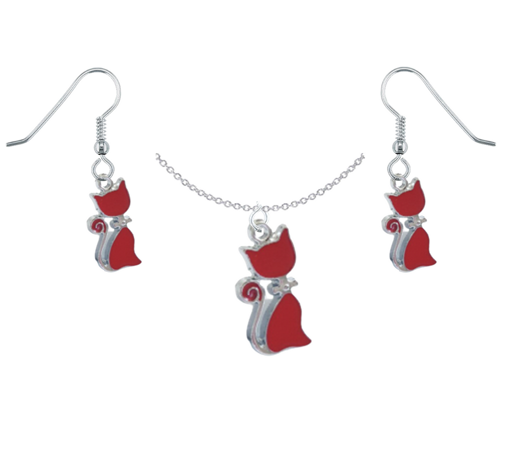 Red Cat Necklace & Earring Set
