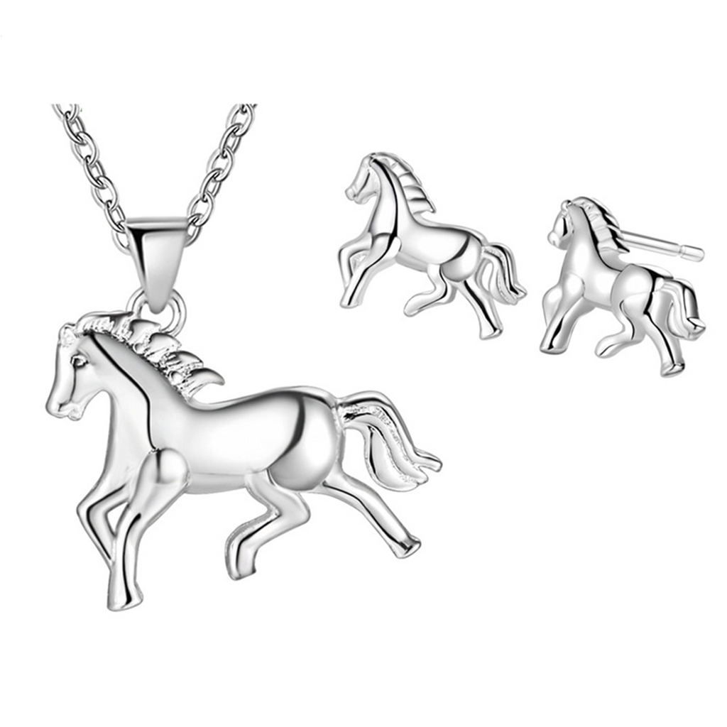Running Horse Necklace & Earring Set