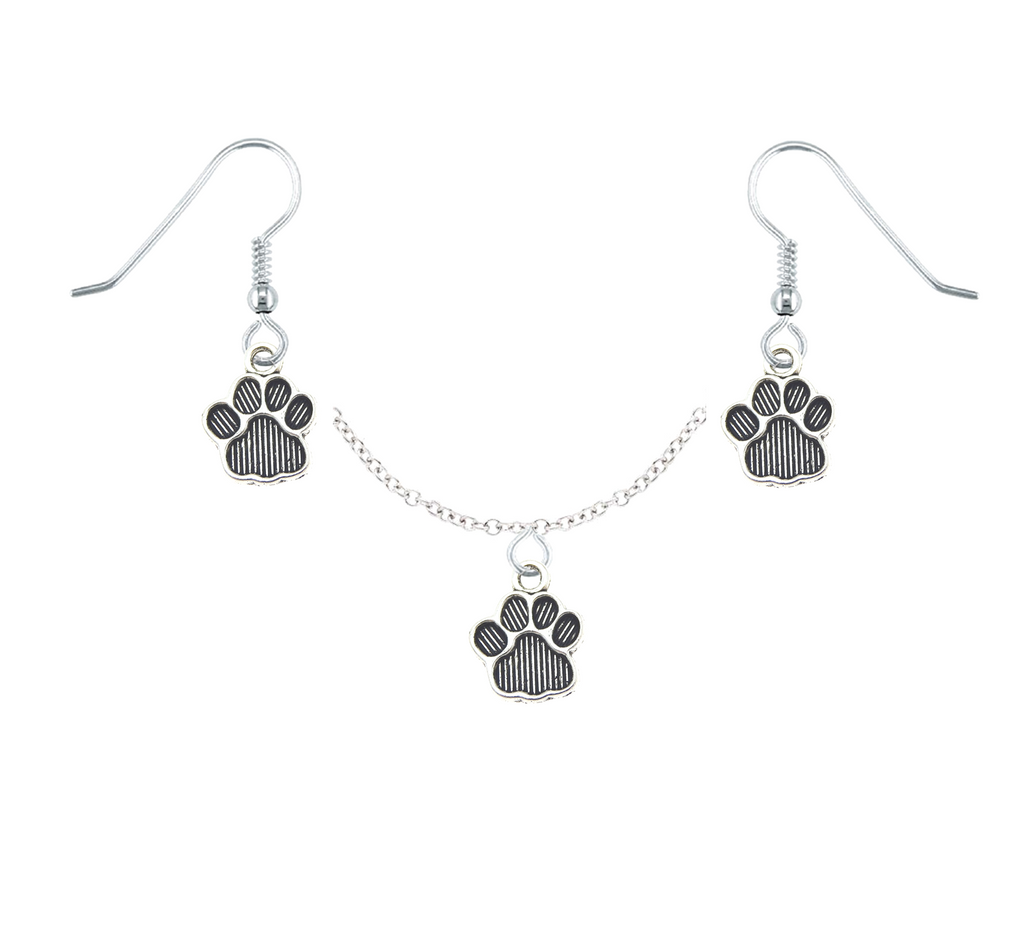 Striped Paws Necklace & Earring Set