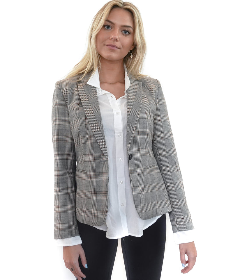 """I LOVE I WANT I NEED"" HOUNDSTOOTH BLAZER"