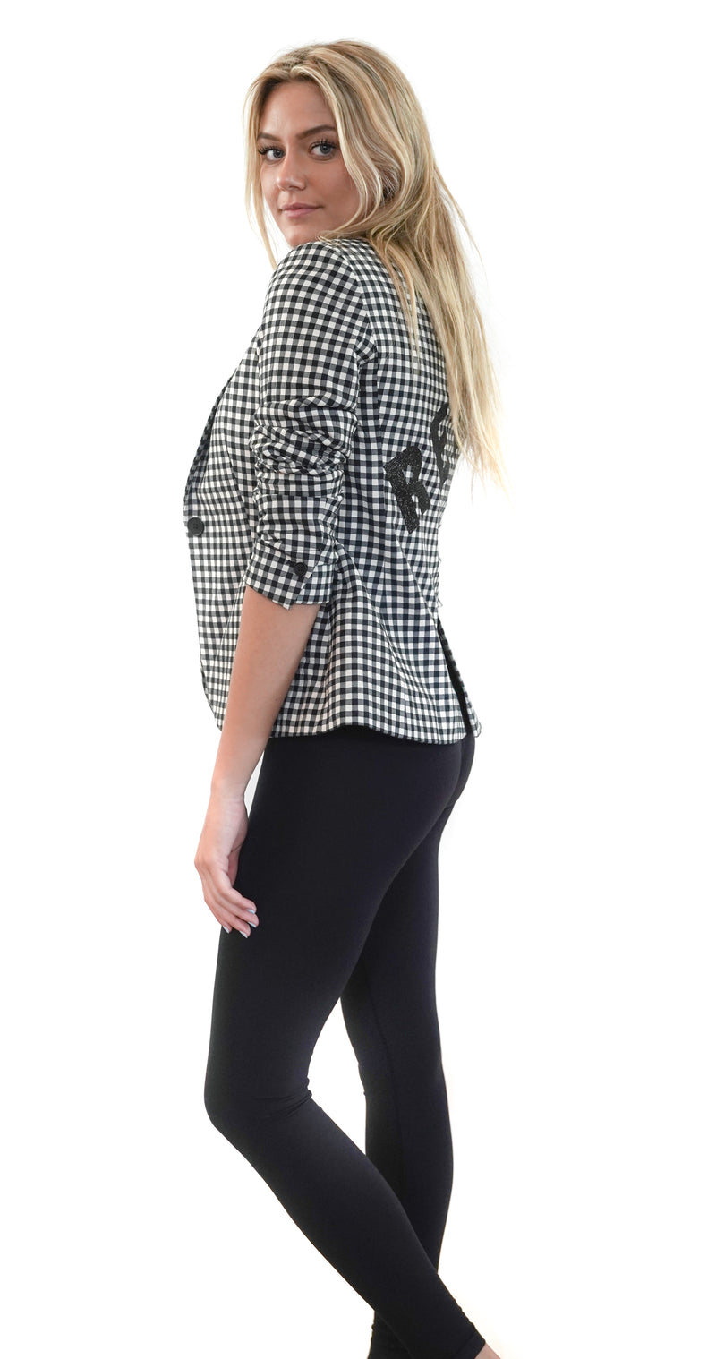 """REAL"" BLACK CHECKERED BLAZER"