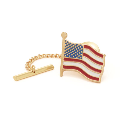 American Flag Pin in Silver Tone (Made in the USA)