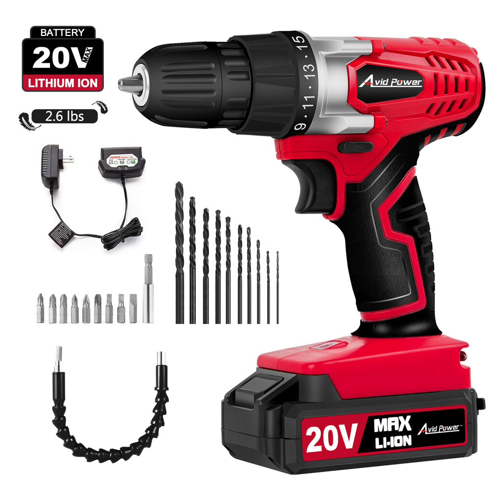 "20V Cordless Drill, Power Drill Set with 3/8"" Keyless Chuck, Variable Speed, 16 Position with LED Light, 22pcs Drill/Driver Bits Included"