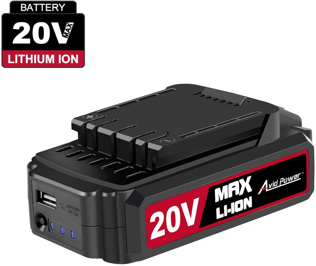 20V MAX Lithium Ion Rechargeable Battery with Real-time Capacity Indicator and USB output, Only Compatible with Avid Power 20V Cordless Tools