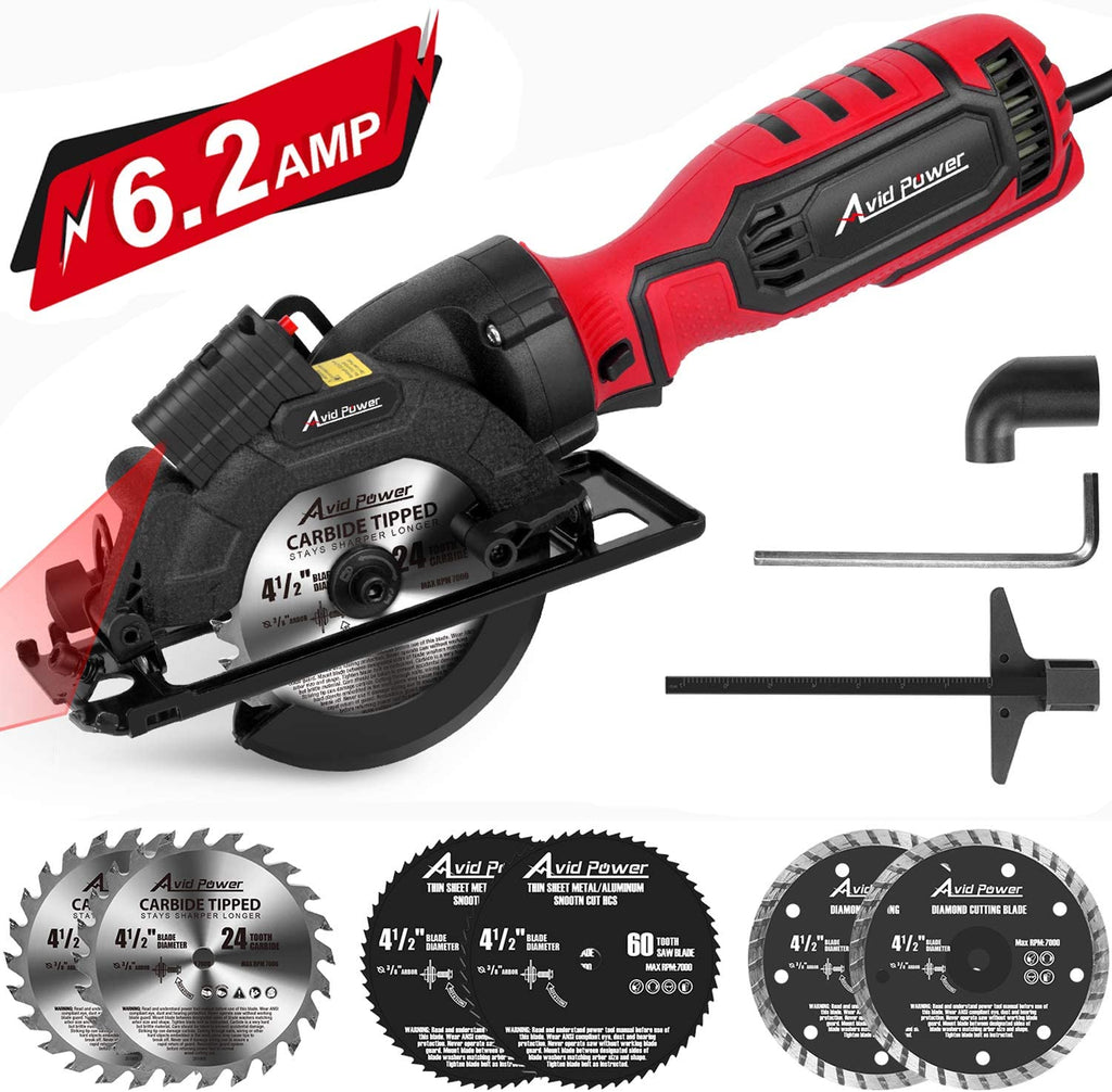 "Avid Power Circular Saw, 4-1/2"" Compact Electric Circular Saw 6.2A with 6 Saw Blades, Laser Guide, Scale Ruler, Ideal for Wood, Soft Metal, Tile, and Plastic Cuts"
