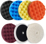 "Avid Power 6 Pcs Buffing Pads Polishing Pads Kit with 8"" Pads for Car Polisher Boat Polisher - 5Pcs 8'' Waffle Foam Pads, 1Pcs 7'' Wool Grip Pad and 1Pcs 5/8"" Threaded Polisher Grip Backing Plate"