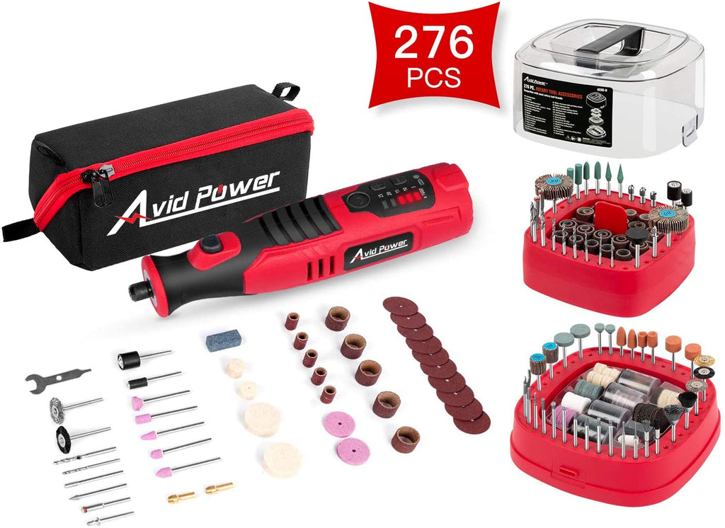 Avid Power Cordless Rotary Tool 8V 2.0 Ah Li-ion Battery Bundle with 276 PCS Rotary Tool Accessories Kit