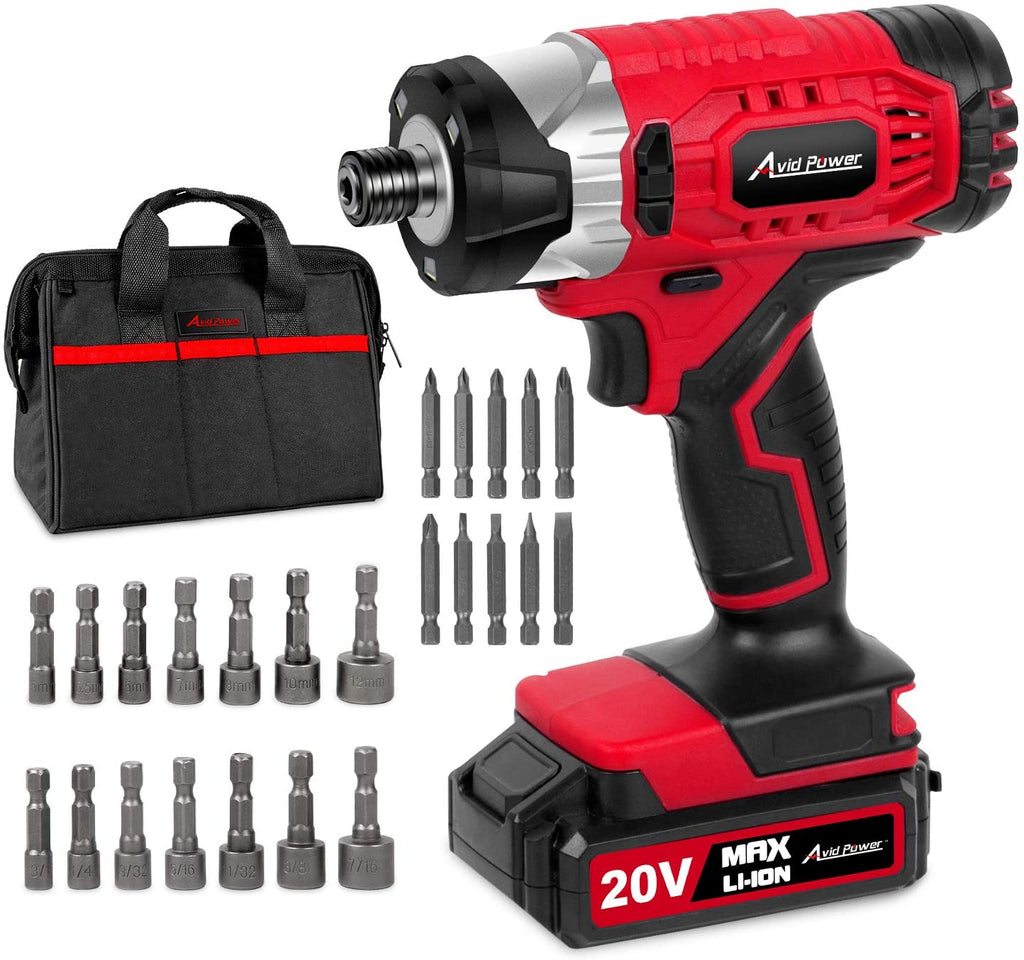 "20V MAX Cordless 1/4"" Hex Impact Driver Kit, Variable Speed, Max Torque 1590 in-lbs, with 14Pcs Sockets, 10Pcs Driver Bits and Tool Bag, Avid Power"