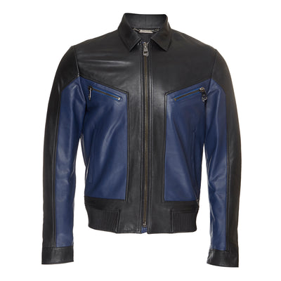Black And Navy Leather Jacket