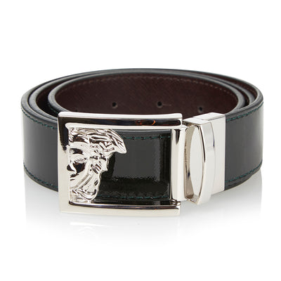 Versace Reversible Cintura Passo Green Leather Belt