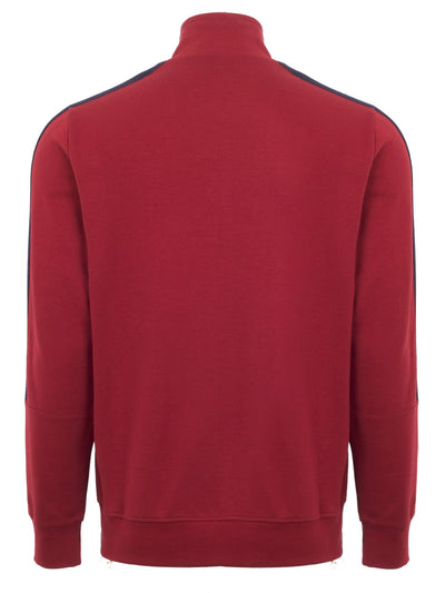 RED ZIP THRU FUNNEL NECK SWEATSHIRT